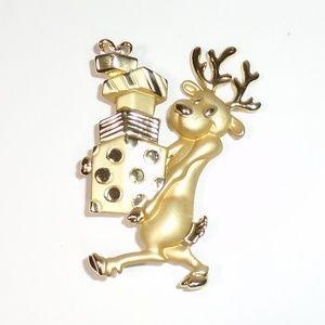 Vintage Danecraft Gold Tone Christmas Reindeer Pin